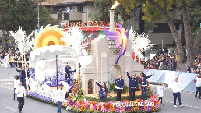 "LA 2024 'Follow the Sun"" Float at the 2017 Tournament of Roses Parade (LA 2024 Photo)"