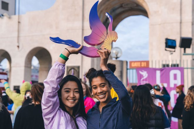 LA 2024 Olympic bid supporters celebrate bid book submission at LA Coliseum in pre-dawn rally (LA 2024 Photo)