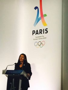 Paris Mayor Anne Hidalgo at Paris 2024 International launch event Febriary 3, 2017 (Paris 2024 Photo)