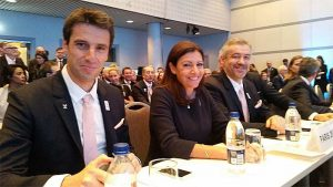 Paris 2024 bid delegation waiting to present to International Federations at Sport Accord Convention in Aarhus, Denmark (L to R) Co-Chair Tony Estanguet, Paris Mayor Anne Hidalgo, Chief Etienne Thobois (Paris 2024 Photo)