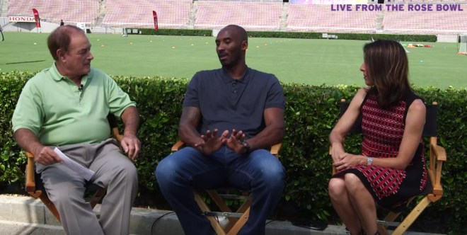 NBA Legend Kobe Bryant (centre) with Olympic Champion swimmer Janet Evans (right) and announcer Al Michaels in Facebook Livestream June 30, 2017.