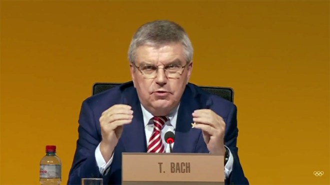 IOC President Thomas Bach addresses members at Session in Lausanne, July 11, 2017