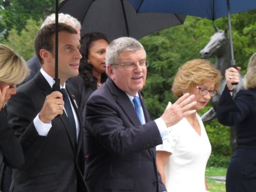 President Macron and Mayor Garcetti Meet Privately With Bach Ahead Of Key Presentations