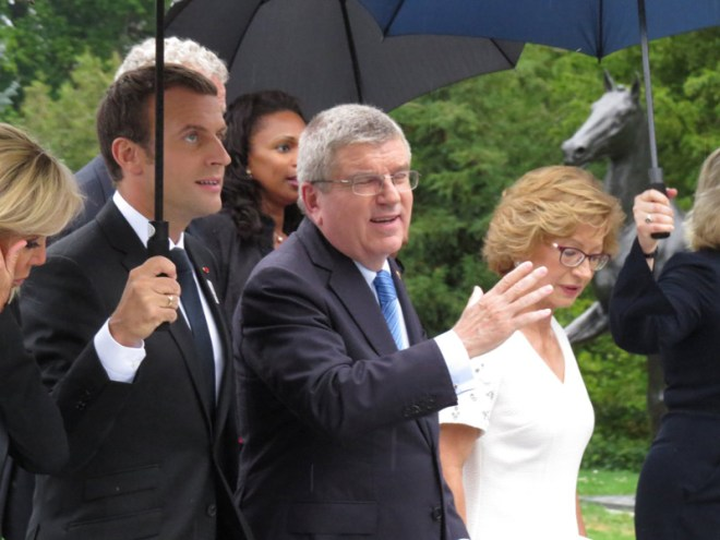 French President Emmanuel Macron with IOC President Thomas Bach arriving at Olympic Museum in Lausanne (GamesBids Photo)