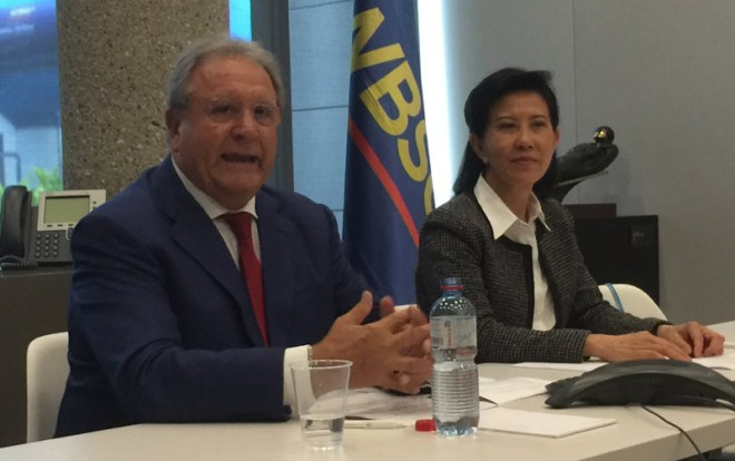 WBSC President Riccardo Fraccari and Secretary General Beng Choo Low speak at the Olympic Museum in Lausanne (GamesBids Photo)