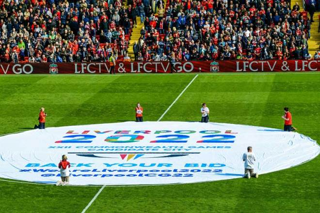A banner celebrates the Liverpool 2022 Commonwealth Games bid at Anfield Pitch (Liverpool 2022 Photo)