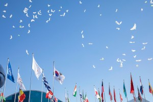 Celebrations at the opening of the PyeongChang 2018 Mountain Olympic Village (IOC Photo)