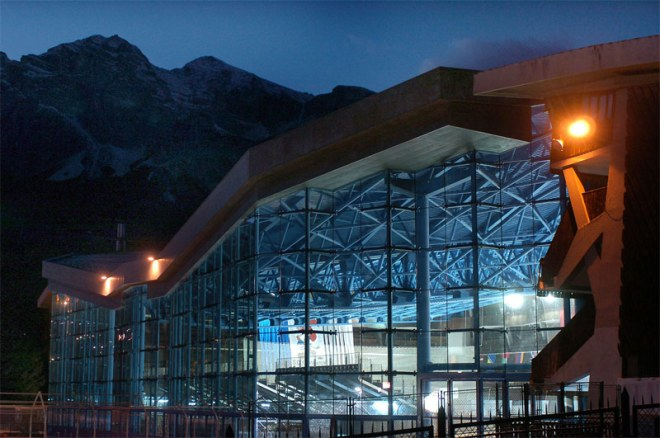 Cortina d'Ampezzo Ice Olympic Stadium built for the 1956 Olympic Winter Games and later restored with an added roof.