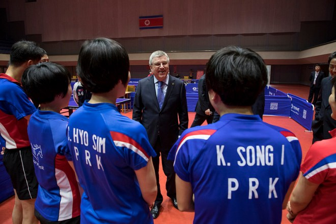 IOC President Bach visits the Table Tennis centre in the Sports village in Chongchun Street, Pyongyang - March 30, 2018 (IOC Photo)