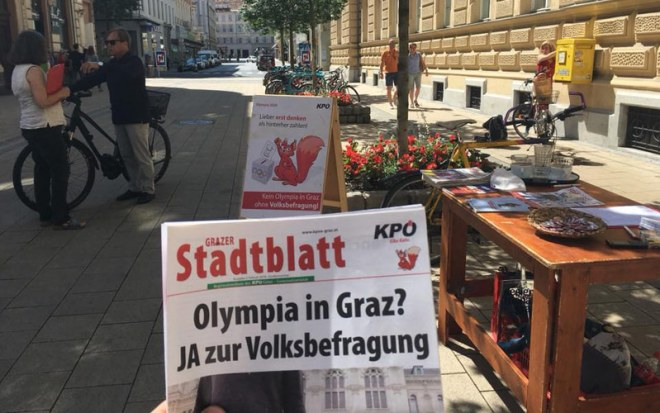 "Newsletter in Graz, Austria with headline ""Olympics in Graz? YES to Referendum"" (Photo: KPÖ Graz Facebook)"