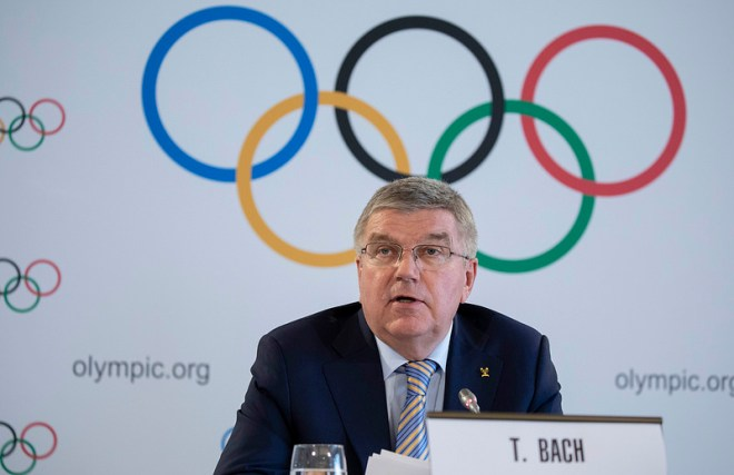 IOC President Thomas Bach at press conference following Executive Board Meeting in Lausanne, Switzerland (IOC Photo)