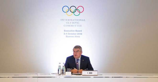 IOC President Thomas Bach at an Executive Board meeting in Buenos Aires October 3, 2018 (IOC Photo)
