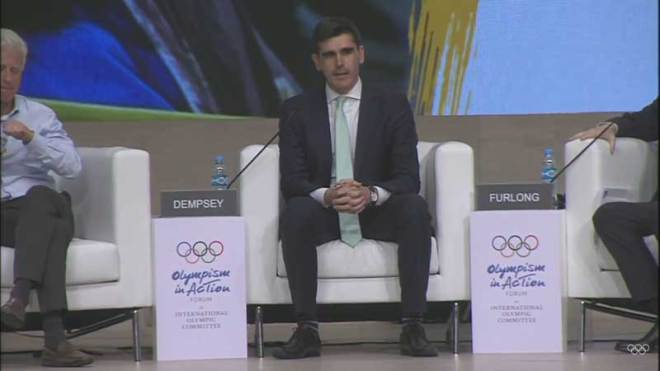 No Boston Olympics co-founder Chris Dempsey speaks at Olympism In Action conference in Buenos Aires on October 5, 2018 (IOC YouTube Screen Capture)