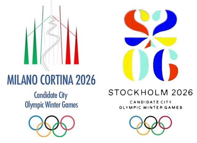 The Milano-Cortina and Stockholm 2026 Olympic and Paralympic Games bid unveil their logos at ANOC