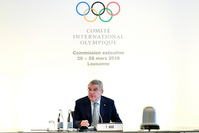 IOC President Thomas Bach speaks at an Executive Board Meeting in Lausanne, Switzerland March 27, 2019 (IOC Photo)