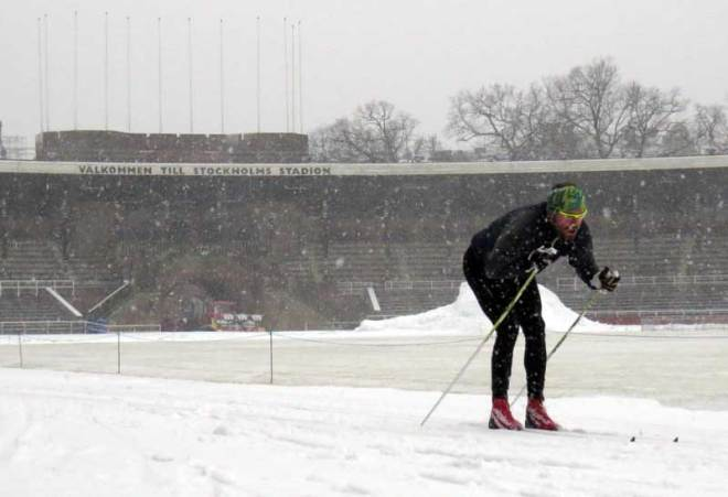 Skier at Stockholm Olympic Stadium, the oldest currently in-use Olympic stadium, March 13, 2019 (GamesBids Photo)