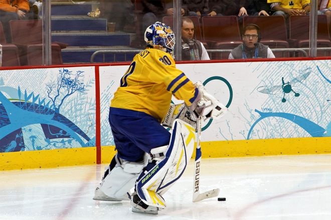 Ice Hockey goalie and  NHL star Henrik Lundqvist plays for Team Sweden at Vancouver 2010 Olympic Games
