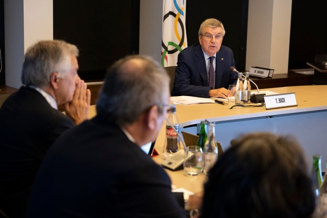 IOC President Thomas Bach at Executive Board Meeting in Lausanne, Switzerland May 22, 2019 (IOC Photo)