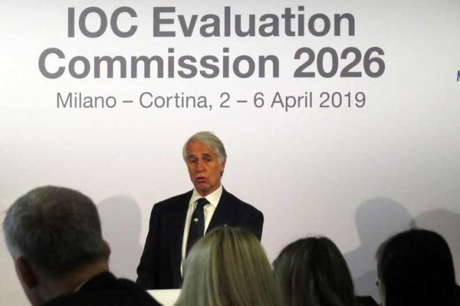 Milan-Cortina 2026 bid Chief Giovanni Malagò speaks to IOC Evaluation Commission (GamesBids Photo)