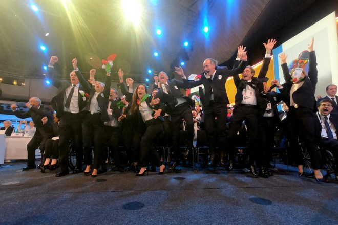 Italian bid team celebrate the awarding of the 2026 Olympic Winter Games to Milan Cortina (IOC Photo)