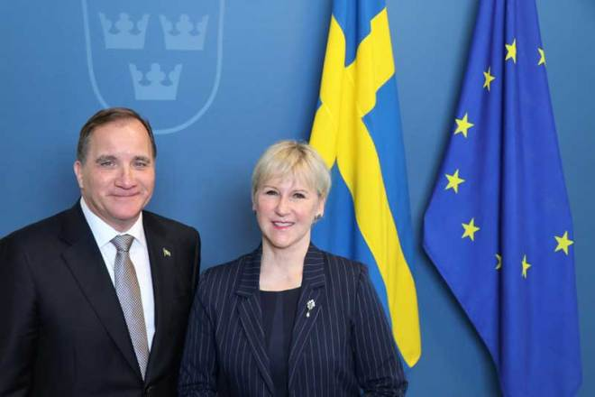 Swedish Prime Minister Stefan Löfven and Foreign Minister Margot Wallström express support for Stockholm Åre 2026 Olympic bid (Photo: Anton Abele)