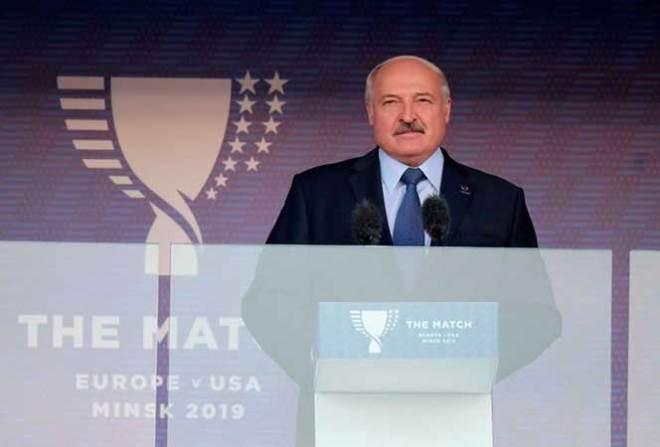 Belarus President Aleksander Lukashenko speaks at the opening of The Match athletics meet in Minsk, September 9, 2019 (State Photo)