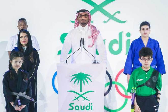 Hadi Soaan (centre) presents at Riyadh 2030 Asian Games bid event October 5, 2020 (Riyadh 2030/Twitter)