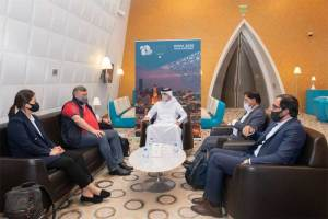 HE QOC Secretary General Jassim bin Rashid Albuenain receives the OCA Evaluation Committee at Hamad International Airport (Doha 2030/Twitter Photo)