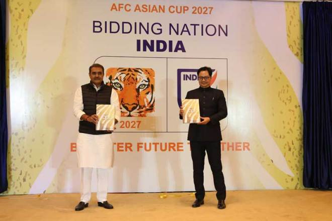 Kiren Rijiju, India's Minister of Youth Affairs and Sports and Praful Patel, All India Football Federation (AIFF) President and FIFA Council Member unveil India 2027 bid book and logo (India 2027 Photo)