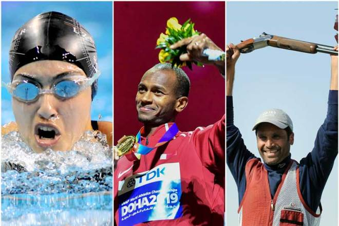 Qatar's first female Olympic swimmer Nada Arkaji (left to right); two-time Olympic medalist and two-time high-jump World Champion, Mutaz Essa Barshim; Asian Games gold medallist and Olympic bronze medallist in shooting Nasser Al Attiyah (Doha 2030 handout)