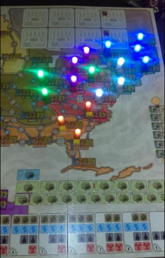 Power Grid board game with LEDs