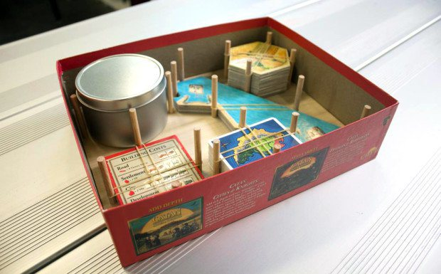 Catan organizer in box with pieces
