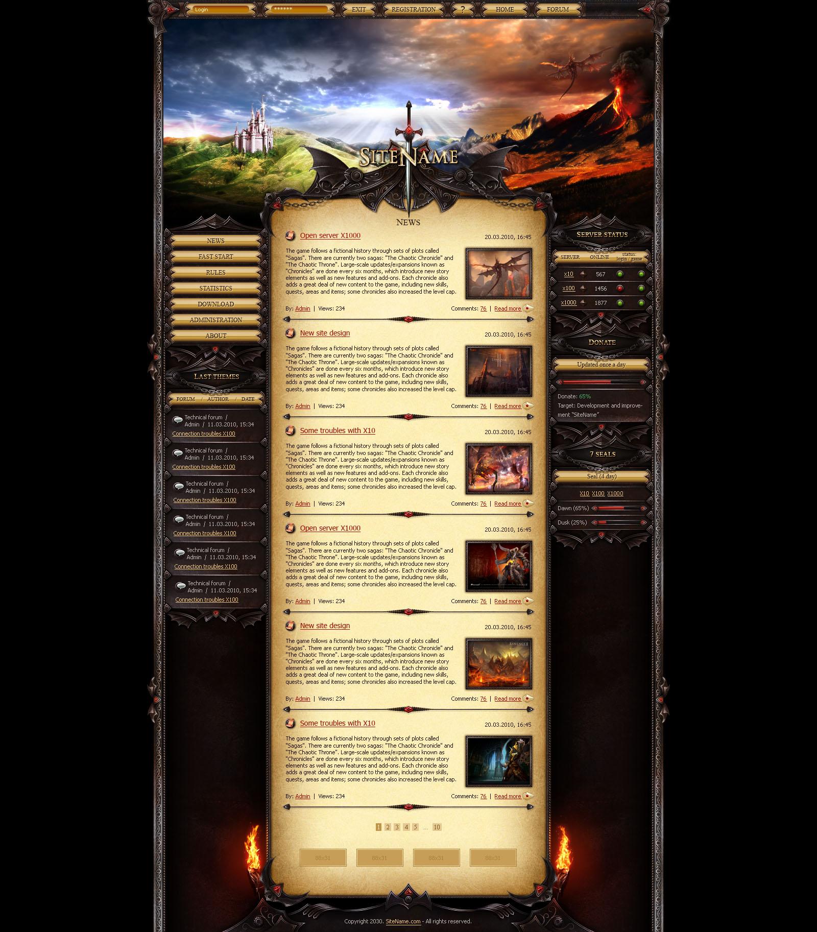 Dragon Land Website Template