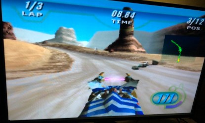 screenshot of star wars racer gameplay on the n64