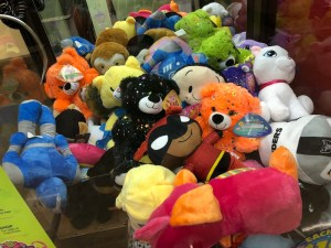 image of available prizes in the arcade claw machine at the pleasanton safeway