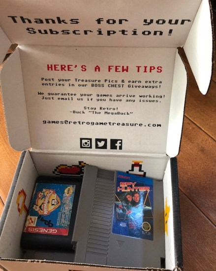 inside of a retro game treasure subscription box