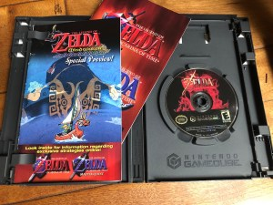 inside of case for zelda oot from retro wreck room april 2019 box