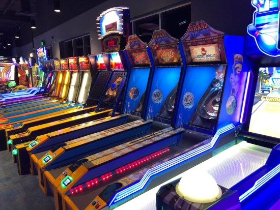 Line of skee ball games at big als in milpitas