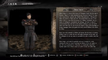 A detailed character page for Hattori.