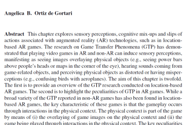 Book chapter: Game Transfer Phenomena in Location-Based Augmented Reality Games