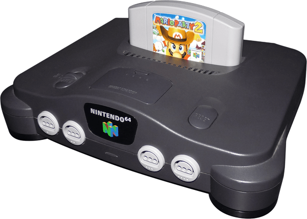nintendo 64 n64 original with game front angle view gametrog