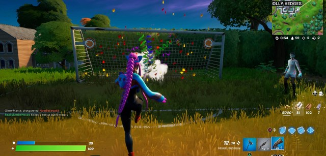 Score a goal with soccer toy in Fortnite