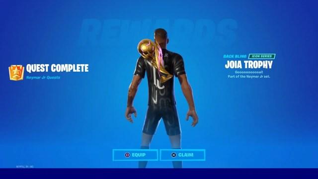 Joia Trophy back bling Fortnite Neymar Jr quest