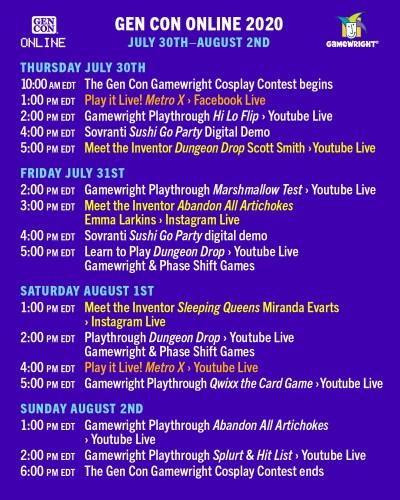 Gamewright Gen Con Online schedule