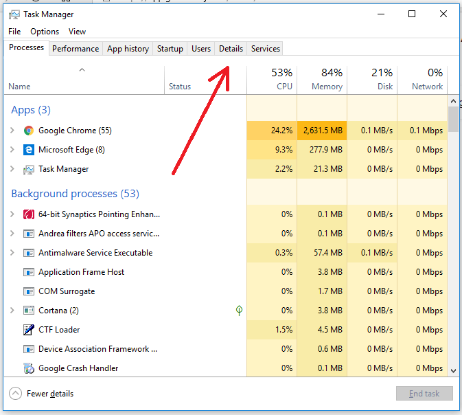 set high priority on Task manager
