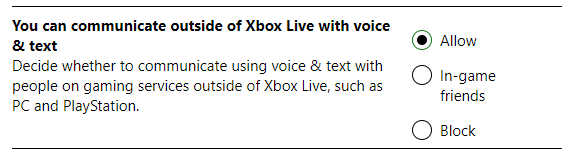 xbox live voice chat allow