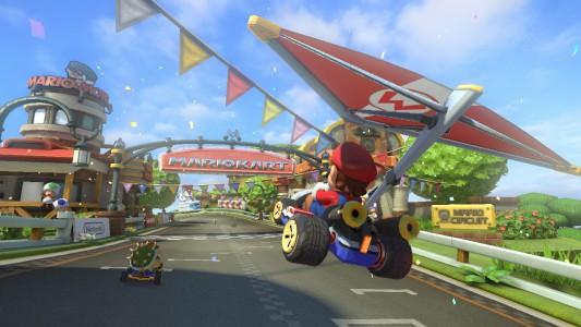 Abgehoben! Mario gleitet durch die Lüfte.