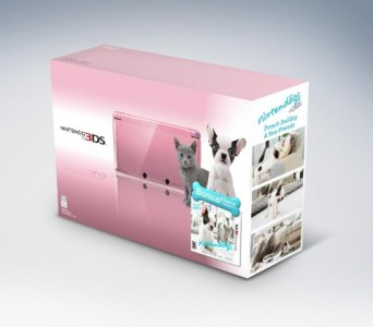 Pink 3DS with Nintendogs+Cats French Bull Dog