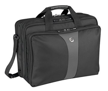 "Wenger 600655 LEGACY 17"" Laptop Triple Compartment Case with Airport Friendly Notebook Compartment (Black / Grey) - 1"