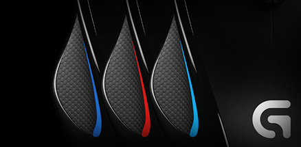 Three mice with user configured lighting; deep blue, red and medium blue